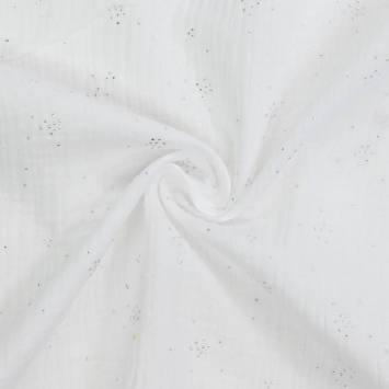 coupon - Coupon 90cm - Double gaze blanche points argentés
