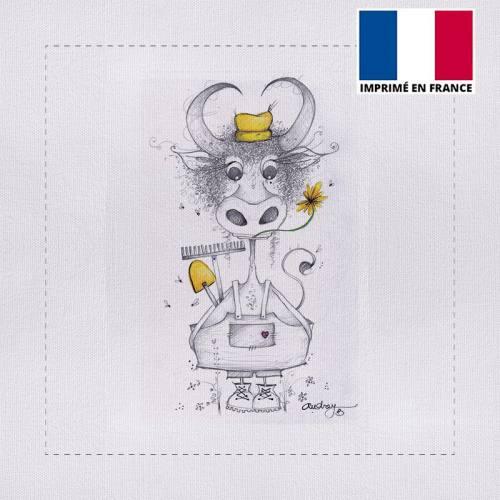 Coupon 40x40 cm motif vache fermière - Création Audrey Baudo