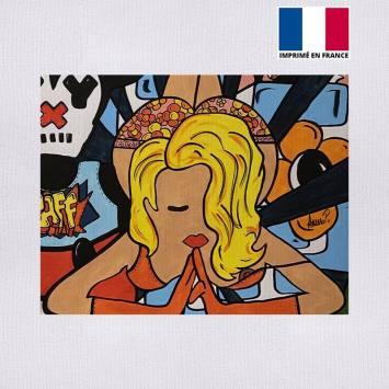 Coupon 27x21 cm - Toile canvas pin-up - Création Anne-Sophie Dozoul
