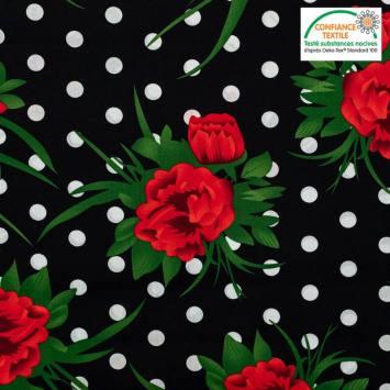 coupon - Coupon 35cm - Popeline de coton noire motif pois blanc et fleur rouge Oeko-tex