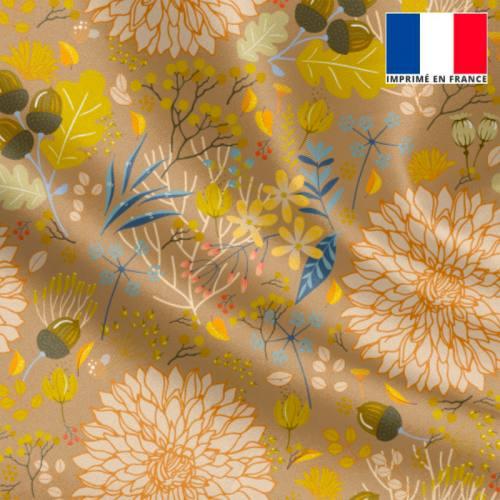 Satin or motif feuille d'automne