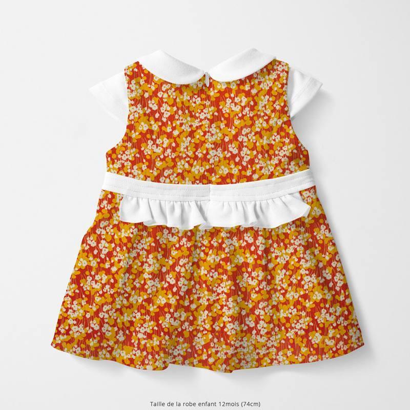 Popeline de coton tomette motif prairie fleurie ocre Oeko-tex