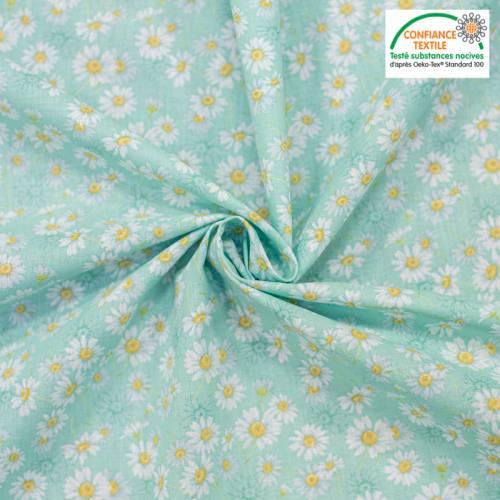 Popeline de coton vert d'eau motif fleur aster blanche Oeko-tex
