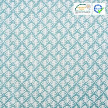 Coton vert d'eau motif feuille de palmier