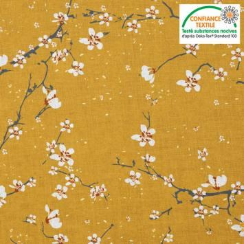 coupon - Coupon 100x100cm - Coton ocre motif fleur de cerisier