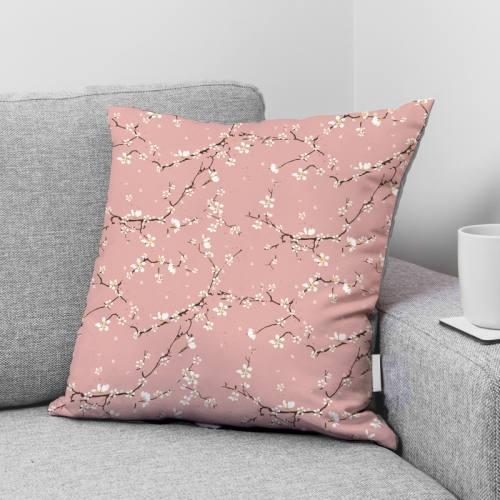 coupon - Coupon 90cm - Coton rose motif fleur de cerisier
