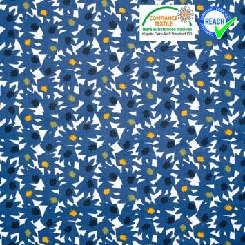 coupon - Coupon 28x110cm - Coton bleu indigo motif eiko vert et ocre