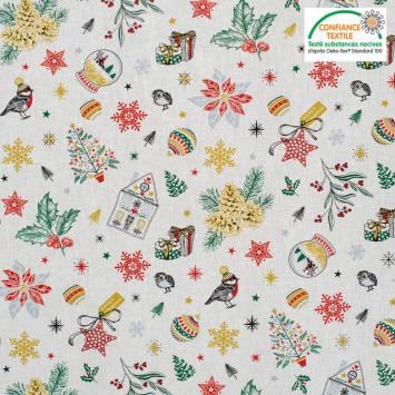 Popeline de coton blanc motif cadeau de Noel Oeko-tex