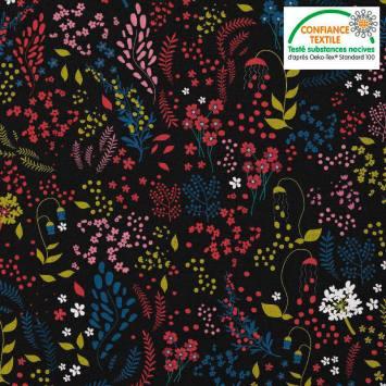 coupon - Coupon 50cm - Coton noir motif fleurs champêtres rouges roses jaunes