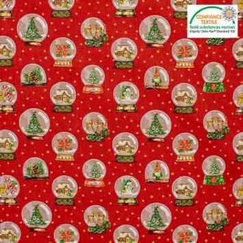 Popeline de coton rouge motif boule à neige Noel Oeko-tex