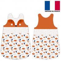 Coupon velours d'habillement pour gigoteuse motif renard