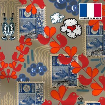 Satin vert de gris motif oiseau et timbre - Anne-Sophie Dozoul