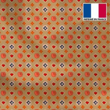Satin or motif petit monogramme fleur bleue Le Loulou de Solliès-Pont - Anne-Sophie Dozoul