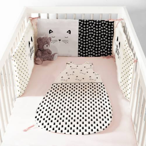 Coupon velours d'habillement motif chat - Gigoteuse et Tour de Lit