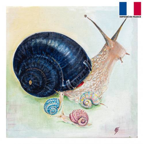 Coupon 45x45 cm motif escargot - Création Véronique Baccino