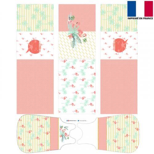 Coupon velours d'habillement motif flamant - Gigoteuse et Tour de Lit