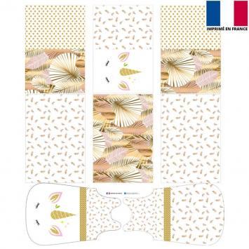 Coupon velours d'habillement motif licorne gold - Gigoteuse et Tour de Lit