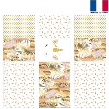 Coupon velours d'habillement pour tour de lit motif licorne gold