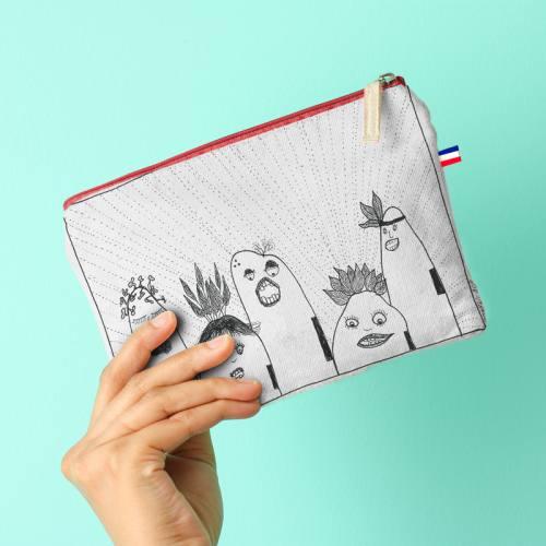 Kit pochette canvas motif Tribu - Création Jeanne Garreau