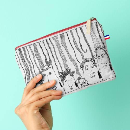 Kit pochette écru motif Jungle Tribu - Création Jeanne Garreau