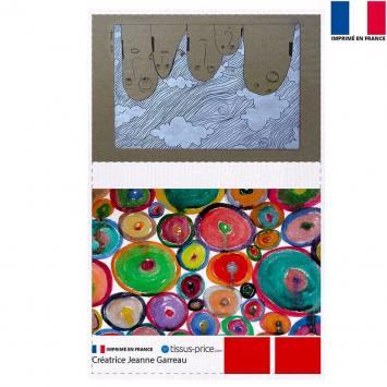 Kit pochette gris motif Nuages - Création Jeanne Garreau