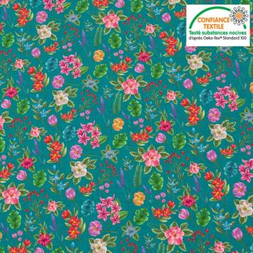 Coton bleu canard motif fleurs et jungle Oeko-tex