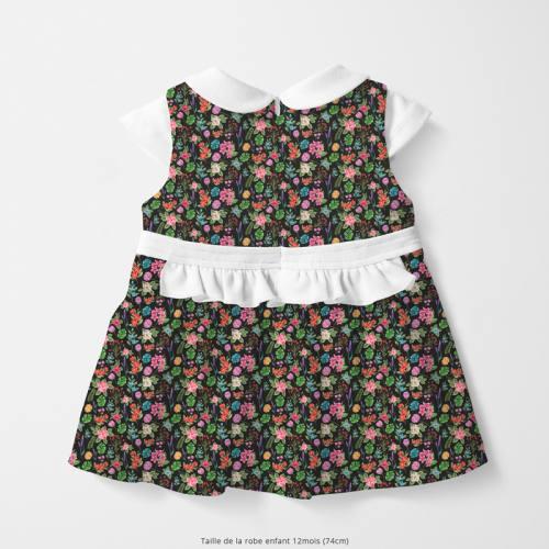 Coton noir motif fleurs et jungle Oeko-tex