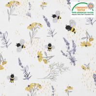 Coton blanc motif bouton d'or lavande et abeille Oeko-tex