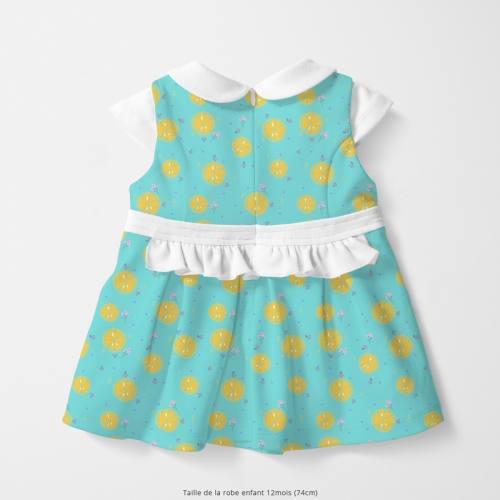 Coton bleu motif citron jaune Oeko-tex