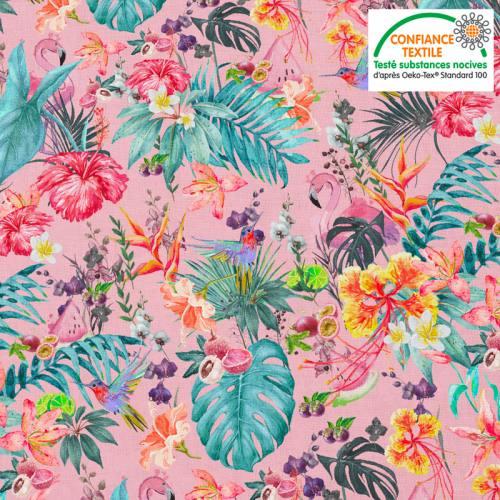 Coton rose motif fruit tropical Oeko-tex
