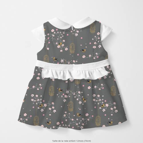 Coton gris foncé motif fleur de cerisier et cage à oiseaux Oeko-tex