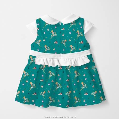 Coton bleu canard motif petite fille Oeko-tex