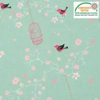 Coton vert pastel motif fleur de cerisier et cage à oiseaux Oeko-tex