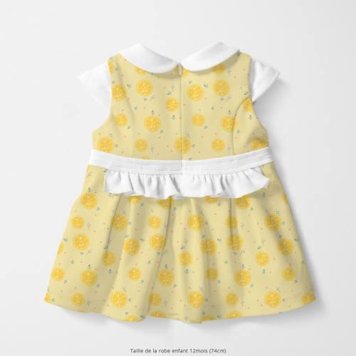 Coton beige motif citron jaune Oeko-tex