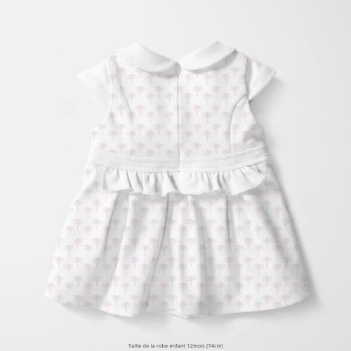 Coton blanc motif palmier rose en origami Oeko-tex