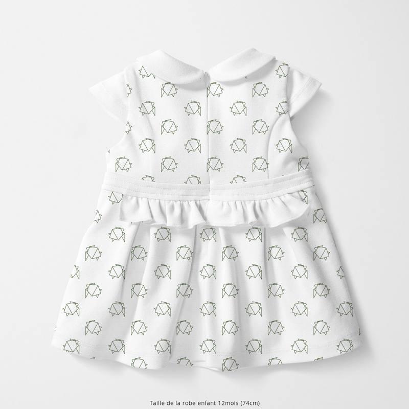 Coton blanc motif tortue de mer verte en origami Oeko-tex