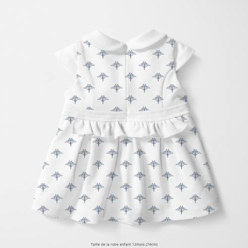 Coton blanc motif raie manta bleue en origami Oeko-tex