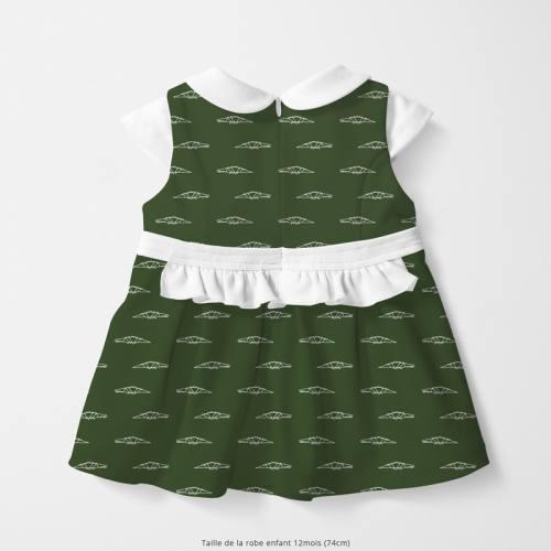 Coton vert motif crocodile en origami Oeko-tex