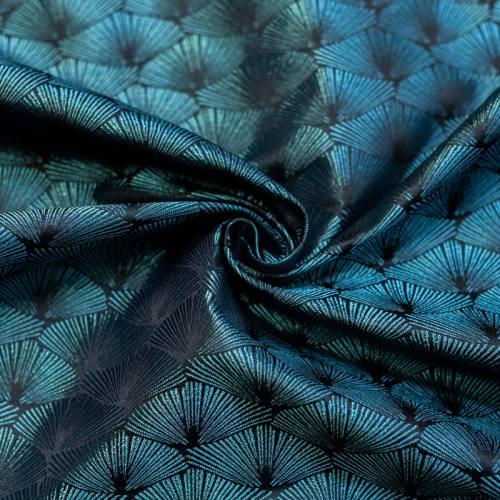 Jacquard noir éventail bleu turquoise