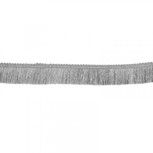 Galon franges fil gris perle 30 mm
