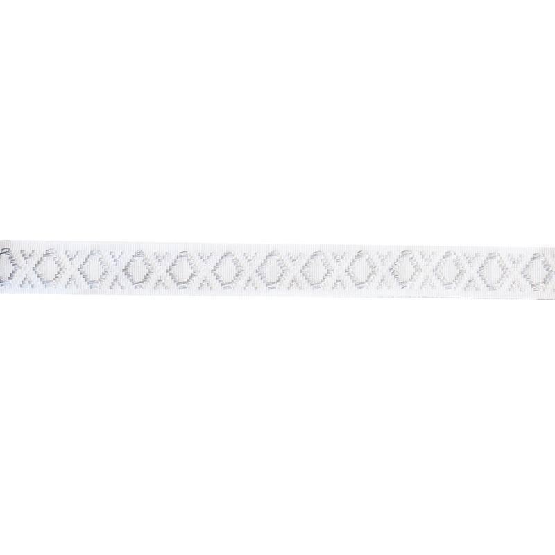 Galon métal blanc et argenté 22 mm