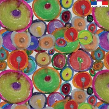 Velours ras écru motif ronds multicolores - Jeanne Garreau