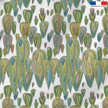 Velours ras écru motif montgolfière verte - Jeanne Garreau