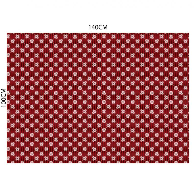 Velours ras rouge motif flocons de neige effet brodé