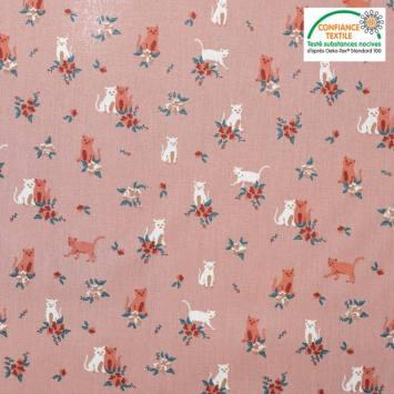 Popeline de coton vieux rose motif cats & flowers Oeko-tex