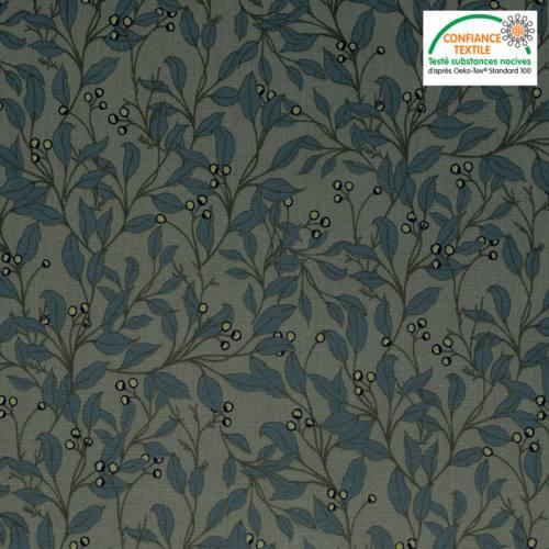 Popeline de coton vert motif feuilles d'olivier Oeko-tex
