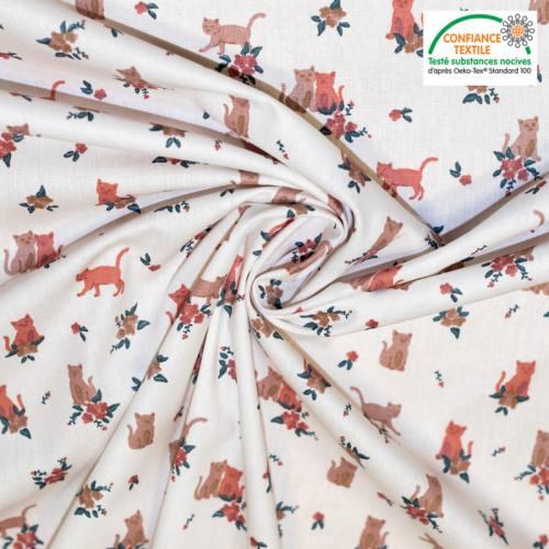 Popeline de coton blanche motif cats & flowers Oeko-tex