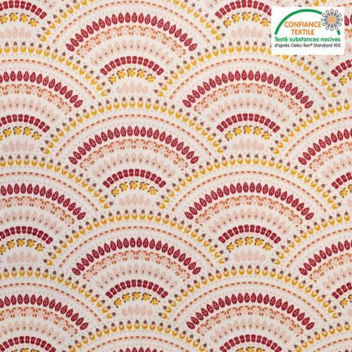 Popeline de coton blanche motif décoration Oeko-tex