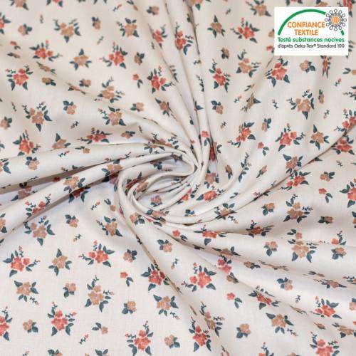 Popeline de coton blanche motif flowers Oeko-tex