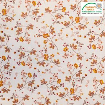 Popeline de coton blanche motif fleuri automnal Oeko-tex